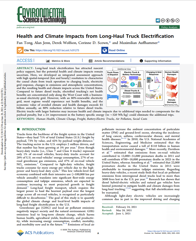 Health and Climate Impacts from Long-Haul Truck Electrification