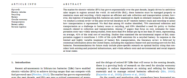 Transportation of electric vehicle lithium-ion batteries at end-of-life: A literature review