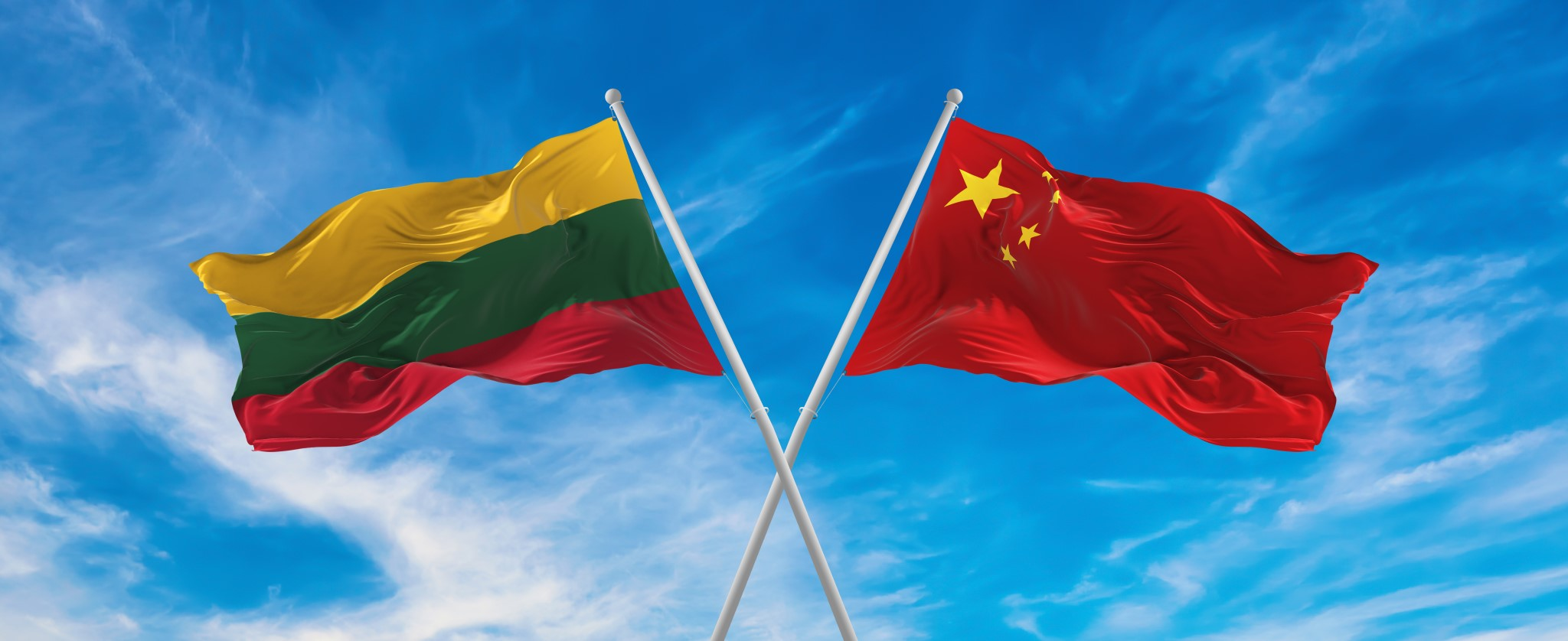 Lithuania's flag and PRC's flag